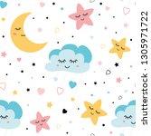seamless childish pattern  ute... | Shutterstock .eps vector #1305971722