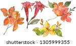 red and yellow tropical floral... | Shutterstock . vector #1305999355