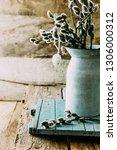spring flowers on wood. rustic  ... | Shutterstock . vector #1306000312
