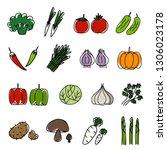 drawing of various vegetables... | Shutterstock .eps vector #1306023178