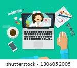 telemedicine illustration  flat ...   Shutterstock . vector #1306052005