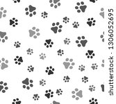 dog paw seamless pattern vector ... | Shutterstock .eps vector #1306052695