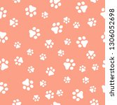 dog paw seamless pattern vector ... | Shutterstock .eps vector #1306052698
