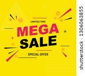 abstract mega sale poster.... | Shutterstock .eps vector #1306063855