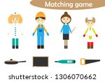 profession matching game for... | Shutterstock .eps vector #1306070662