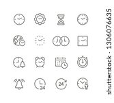 time related icons  thin vector ... | Shutterstock .eps vector #1306076635