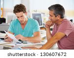 two men meeting in creative... | Shutterstock . vector #130607672