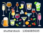 cocktails on black background.... | Shutterstock .eps vector #1306085035