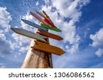 direction signs on blue sky ... | Shutterstock . vector #1306086562