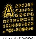 uppercase regular display font... | Shutterstock .eps vector #1306088548