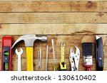 closeup of assorted work tools... | Shutterstock . vector #130610402