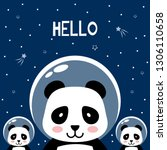panda in outer space saying... | Shutterstock .eps vector #1306110658