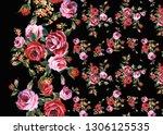 flowers fashion fabric design  | Shutterstock . vector #1306125535
