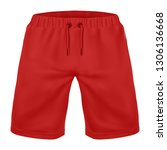 realistic red shorts mockup... | Shutterstock .eps vector #1306136668