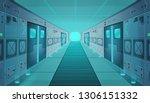 corridor in a spaceship.vector...   Shutterstock .eps vector #1306151332