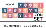 honor icon set. 19 filled honor ... | Shutterstock .eps vector #1306155352