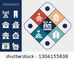 residence icon set. 13 filled... | Shutterstock .eps vector #1306155838