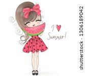 hand drawn beautiful cute... | Shutterstock .eps vector #1306189042