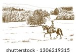 horse rider in a green field....   Shutterstock .eps vector #1306219315