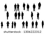 silhouette of a group of people | Shutterstock .eps vector #1306222312