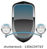 1930s style hot rod car grill... | Shutterstock .eps vector #1306234765