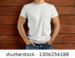 template clothes. brawny slim... | Shutterstock . vector #1306256188
