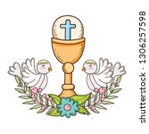sacred chalice religious with... | Shutterstock .eps vector #1306257598