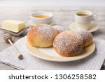 homemade sweet buns with... | Shutterstock . vector #1306258582