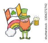 st patricks day leprechaun with ... | Shutterstock .eps vector #1306272742