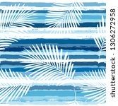 tropical pattern  palm leaves... | Shutterstock .eps vector #1306272958