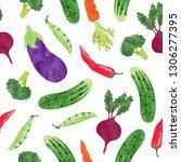 seamless watercolor vegetables... | Shutterstock .eps vector #1306277395