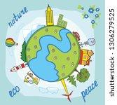 vector illustration with globe  ... | Shutterstock .eps vector #1306279525
