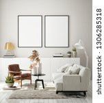 mock up poster frame in modern... | Shutterstock . vector #1306285318