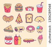 collection set of fast food ... | Shutterstock .eps vector #1306289068