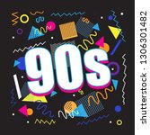 party time the 90s style label. ... | Shutterstock .eps vector #1306301482