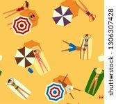 beach top view seamless vector... | Shutterstock .eps vector #1306307428