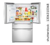 refrigerator with food isolated ... | Shutterstock . vector #1306310368