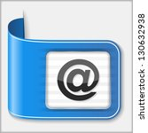 blue ribbon with email symbol ...
