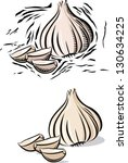 garlic and garlic clove in...   Shutterstock .eps vector #130634225