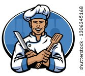 chef hold knife and spatula | Shutterstock .eps vector #1306345168