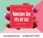 happy valentines day  red heart ... | Shutterstock .eps vector #1306357192