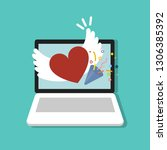 heart with wings and confetti... | Shutterstock .eps vector #1306385392