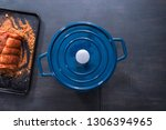 flat lay. cooking boneless pork ... | Shutterstock . vector #1306394965