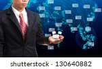 business man holding data and... | Shutterstock . vector #130640882