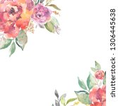 cute  painted watercolor rose... | Shutterstock . vector #1306445638
