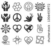 peace and love symbol icons set.... | Shutterstock .eps vector #1306453972