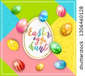 painted easter eggs and... | Shutterstock .eps vector #1306460128