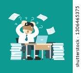 cartoon stressed businessman...   Shutterstock .eps vector #1306465375