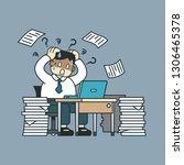 vector cartoon stressed...   Shutterstock .eps vector #1306465378