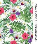 tropical vector seamless... | Shutterstock .eps vector #1306467982